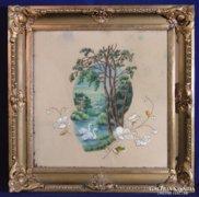 0C104 Antik hímzett varrott festmény hattyús