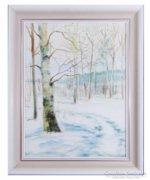 0C191 Jelzett téli erdőrészlet tájkép