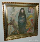 Schéner Mihály életmű festménye - etikettel