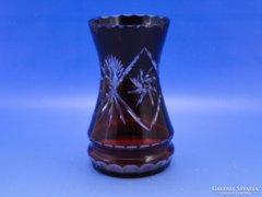 0C332 Régi bordó csiszolt üveg váza