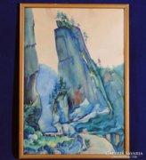 0C209 Jelzett akvarell Erdély Békás szoros