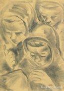 Magyar művész, 1940 körül : Lányok