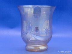 0C071 Régi irizáló csiszolt üveg pohár