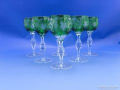 0C465 Régi csiszoltüveg likőrös talpas pohár 6 db