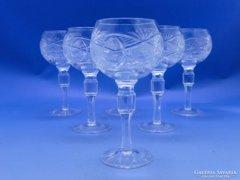 0C470 Régi csiszoltüveg likőrös talpas pohár 6 db