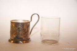 Ezüstözött pohártartó üvegbetéttel