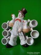 Barokk porcelán  flaska kupicákkal