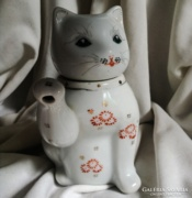 Integető cica teáskanna Maneki neko Kínai porcelán
