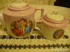 Antik ZSOLNAY porcelán teás kanna és cukortartó