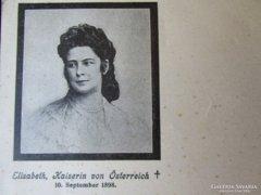 Erzsébet királyné SZISZI gyászlap BÉCS 1898