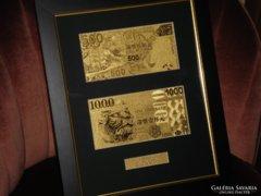LUXUS AJÁNDÉK: HONG KONG 500-1000 DOLLÁR 24 kt ARANY BANKJEGY, EXKLUZÍV OROSZLÁN BANKJEGYEK