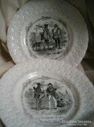 19.sz.-i vadászjelenetes porc.fajansz tányér
