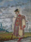 Antik  miniatűr festmény+hímzés