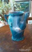 Kisméretű szecessziós kék váza.