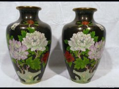 1608 Antik hatalmas tűzzománc váza pár 31 cm