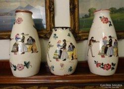 3 db Fischer Emil majolika váza