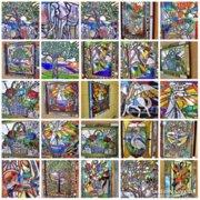 X.69 Pcs .. Original 3d. 4D. Tiffany murals action sale