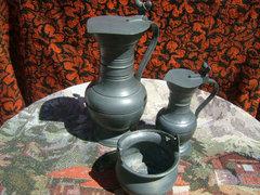 Antik Peltrató jelzett ón készlet 3 részes
