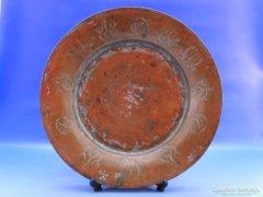 0B407 Antik vörösréz nagyméretű tányér tál