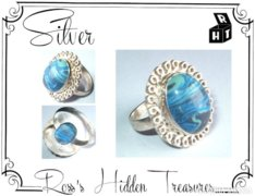 Gyönyörű antik, sterling ezüst, nagyméretű agate kővel