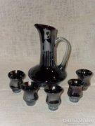 Szakított üveg likőrös készlet ( Huta üveg )  ( DBZ0036 )