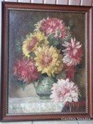 Ifj.Czene Béla Virágok zöld korsóban festménye jbl.,o.,v.ökörszemes keret