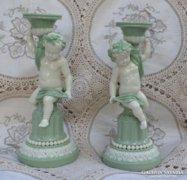 Antik Minton kerubos gyertyatartó pár