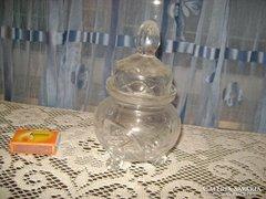 Metszett üveg bonbonier három lábacskán