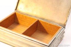 Ezüstözött  kártyatartó doboz, fa betéttel
