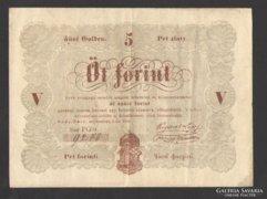 5 forint 1848. (Alacsony sorszám)!!! (VF+++)!!!  BARNA!!!