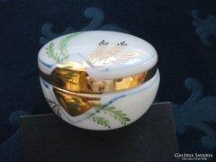 Antik aranyozott kézzel festett fehér üveg pudrié-10x6 cm