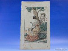 0C702 Antik színezett párizsi divat litográfia