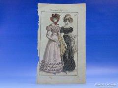 0C703 Antik színezett párizsi divat litográfia