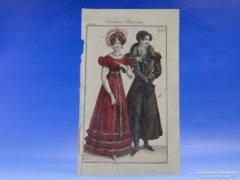 0C704 Antik színezett párizsi divat litográfia
