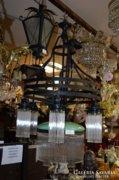 Nagyméretű üvegpálcás réz csillár