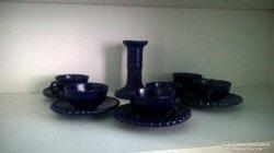 Kék színű kávéskészlet , gyertyatartó és kínáló tálka