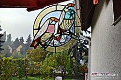 x. Tiffany Két madár, Ablakkép, Fali kép. Készítő művésztől.