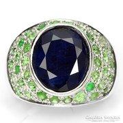 Valodi Kek Zafir es Tsavorit Granat 925 Sterling Silver Ring