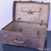 0C901 Antik bőr koffer utazó táska