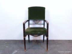 0C827 Antik fekete szecessziós karfás szék