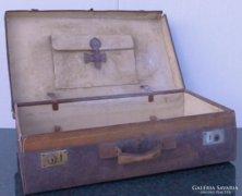 0C889 Antik bőr koffer utazó táska