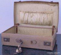 0C890 Antik bőr koffer utazó táska