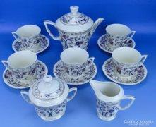 0D248 Zsolnay porcelán bambusz mintás teáskészlet
