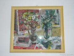 Balás Ilona képcsarnokos csendélet  festménye