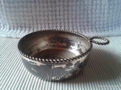 Kopott ezüstözött borkóstoló csésze