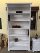 Provence bútor, fehér antikolt könyves szekrény, könyvszekré