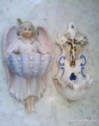Régi  porcelán szenteltvíztartó párban