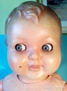 ANTIK régi baba oldalra is néző huncut szemű 55 cm