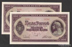 100 pengő 1945.  2 db sorszám követő!!  Tökéletes UNC!!