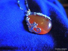 925 ös jelzésű ezüstlánc szép narancsszínű csepp kővel eladó